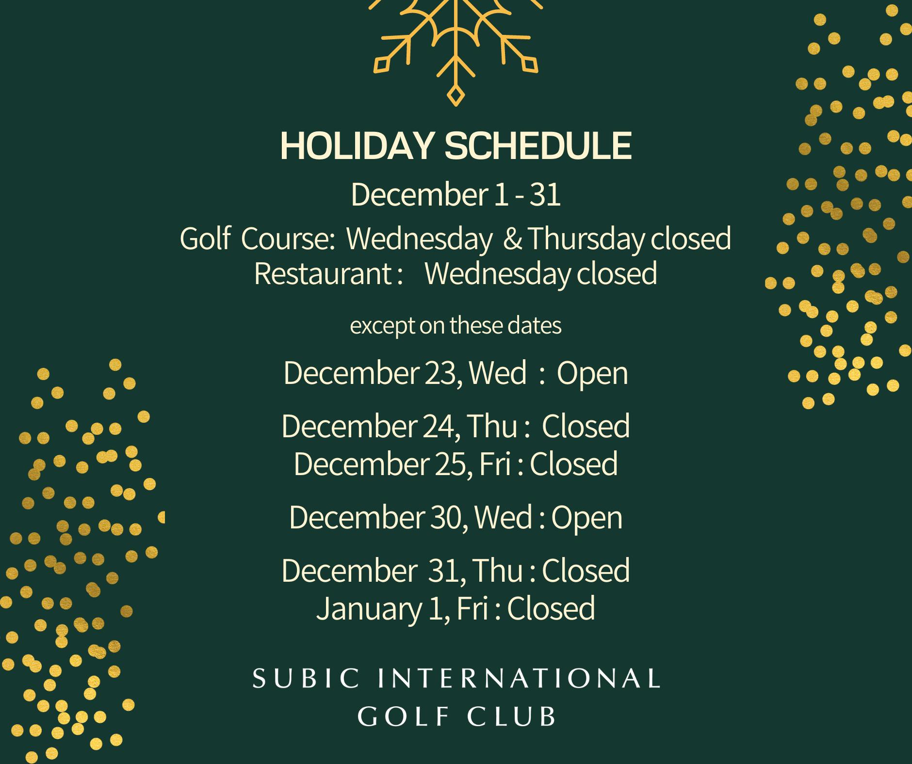 SIGC Holiday Schedule 2020-2021 | Subic International Golf ...